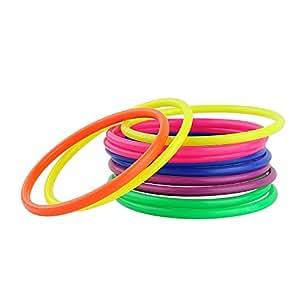 Crystallove Plastic Multicolor Toss Rings for Carnival, Garden, Backyard, Outdoor Games, 12 Piece