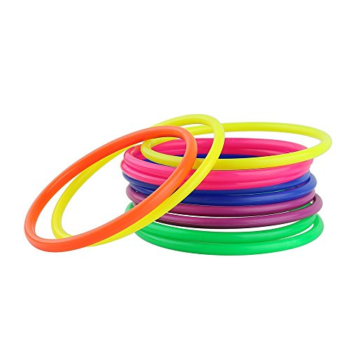 Crystallove Plastic Multicolor Toss Rings for Carnival, Garden, Backyard, Outdoor Games, 12 Piece