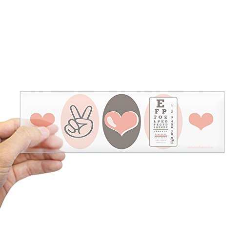 CafePress - Peace Love Ophthalmology Bumper Sticker - 10