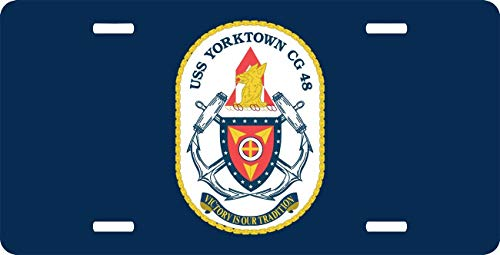 Yorktown Vanity - Navy USS Yorktown CG-48 Novelty License Plate for Automobile or Mini License Plate for Bicycles, Bikes, Wheelchairs, Golf Carts Personalized Custom Vanity Decorative Plate
