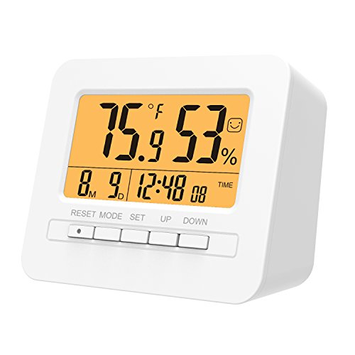 MoKo LED Digital Alarm Clock, Multifunctional Electronic Home Decor Desktop Table Bedside Clock Calendar, Snooze/Sleep/Kitchen Timer, Indoor Thermometer/Hygrometer with Backlight Monitor - WHITE by MoKo