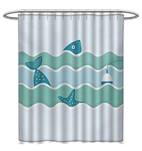 Anhuthree Fitness Shower Curtains Digital Printing Cartoon Style Gym Equipment Set Activity Exercise Burning Calories Losing Weight Custom Made Shower Curtain W69 x L75 Multicolor -