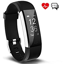 Fitness Tracker Aneken Smart Bracelet Tracker with Heart Rate Monitor Activity Tracker Bluetooth Pedometer with Sleep Monitor Smart Watch for iPhone and Android Smartphones Black