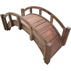 "SamsGazebos Miniature Japanese Wood Garden Bridge, Treated, Assembled, 25"" Long X 11"" Tall X 11-1/2"" Wide, Made in USA"