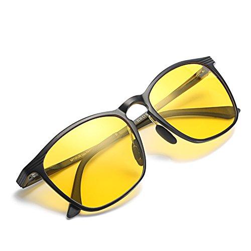 MYIAUR HD Night Vision Glasses Oversized Yellow Lens Anti-glare Sunglasses Men Women for Driving (Black/ - Of Kind Sunglasses What