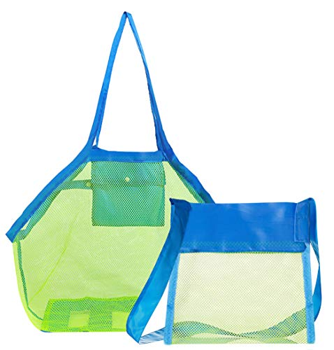 Hibery 2 Pack Mesh Beach Bag Tote, Sand Beach Toy Bag Shell Bags Away from Sand or Water for Holding Childrens Toys, Swimming Equipment Storage & Other Beach Items (Large & Small Size)