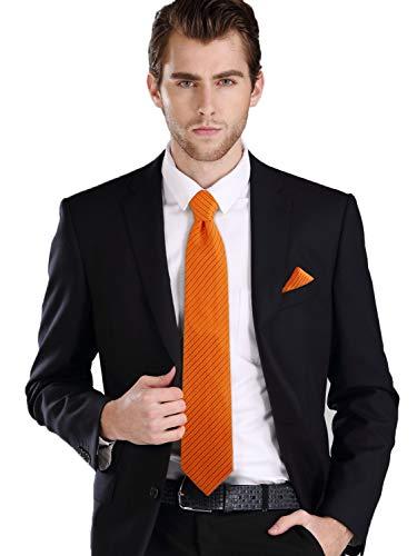 Landisun SILK Solids Mens SILK Tie Set: Tie+Hanky+Cufflinks 26C Bright Orange, 3.25″Wx59&# ...