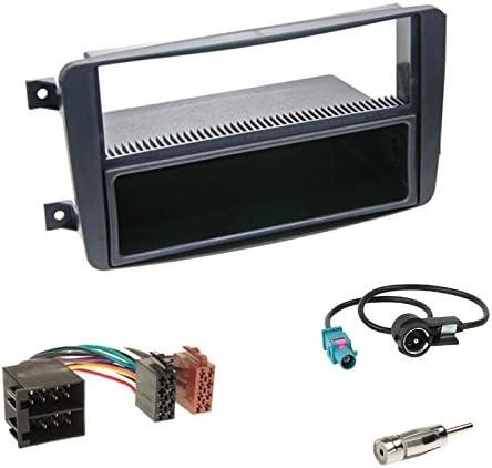 Einbauset Autoradio Din 1 Din Blende Radioblende Schwarz Fach Radio Adapter Adapterkabel Antennenadapter Für Mercedes Clk