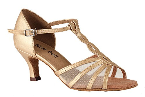 Blue Bell Shoes HANDMADE Women's Ballroom Salsa Wedding Competition Dance Shoes The Lacey 2.5 Heel – Gold (7.5)