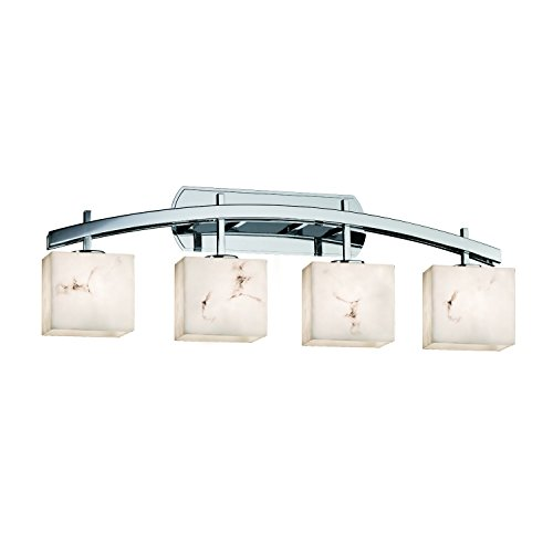Justice Design Group Lighting FAL-8594-55-CROM LumenAria Archway 4-Light Bath Bar Rectangle Polished Chrome Finish with Faux Alabaster ()