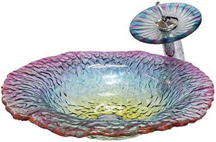 浴室の流し 芸術ガラスボウルシンク浴室強化ガラスの上カウンター容器バニティシンク付きオイルラビングブロンズ蛇口&ポップアップコンボドレイン (Color : Clear, Size : 47x47x11.7cm)