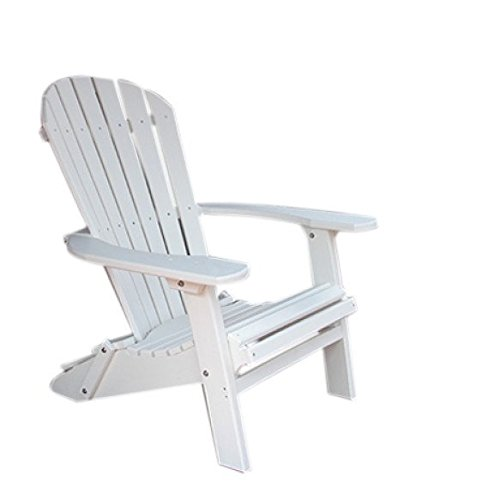 Phat Tommy Recycled Poly Resin Folding Deluxe Adirondack Chair – Durable and Patio Furniture, White For Sale