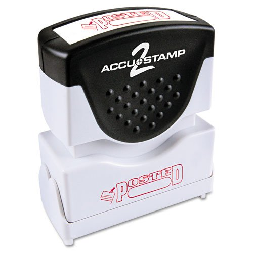(- Accustamp2 Shutter Stamp with Microban, Red, POSTED, 1 5/8 x 1/2)