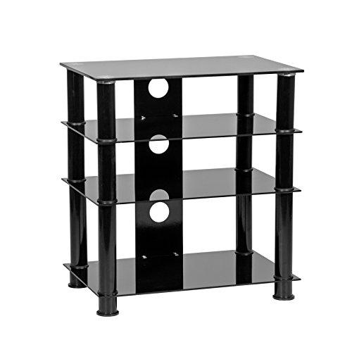 MMT 4-tier Hi Fi AV media component rack black glass shelf tower - Hi-Fi AV Rack (4 Glass Shelf Audio Rack)