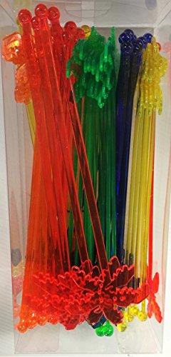 50 Assorted Plastic Palm Tree Luau Tiki Drink Stir Swizzle Sticks Bar