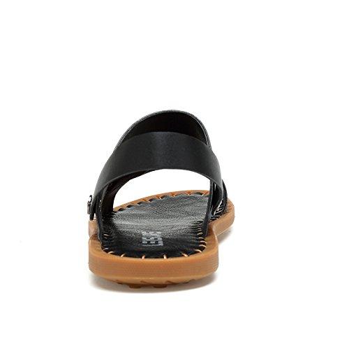 Abby Qzyyu-tz2021 Heren Casual Vers Comfortabele Slippers Lichtgewicht Ademend Platte Zool Backstrap Strand Sandalen Originele Dia Schoenen Open Teen Slingback Zwart