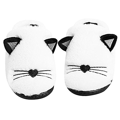 Anddyam Kids Family Cute Cat Household Anti-Slip Indoor Home Slippers for Girls and Boys(Little Kid (6-8 Years) White for $<!--$14.88-->