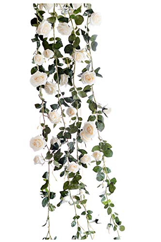 Get Orange 72 Inch rose Garland Artificial Rose Vine with Green Leaves Flower Garland For Home Wedding Decor (1, White) ()