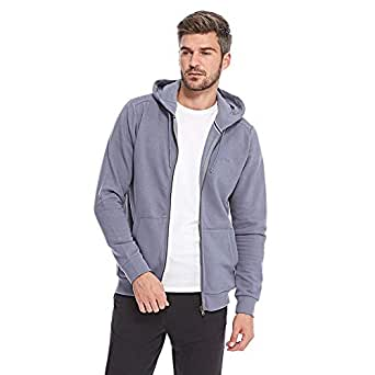 Tokyo Laundry Embroidered Zip Through Hoody For Men - Dusty Blue, Blue, L
