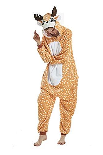Deer Onesie Adult Teens Pajamas Onepiece Halloween Cosplay Costume Animal Outfit