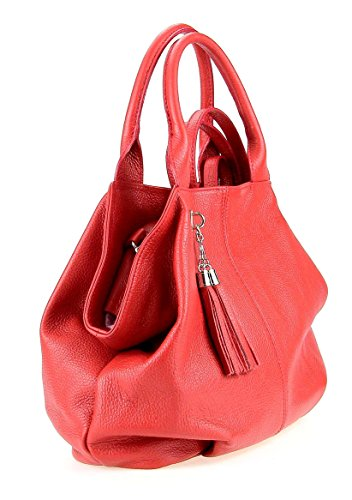 Borsa scuro BxHxT cm donna tote 35x30x15 Made Italy Rosso 71BPRR