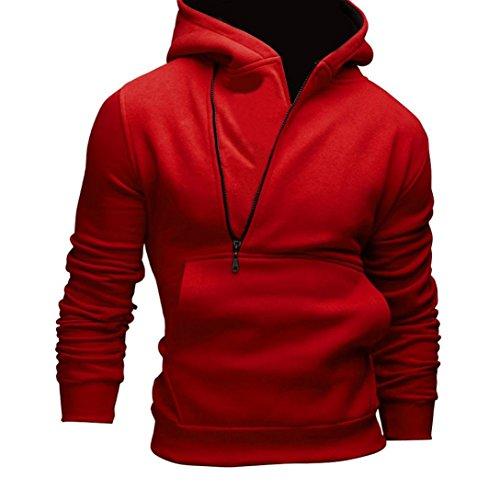 [XUANOU Men Long Sleeve Side zipper Hooded Sweatshirt Jacket Coat Outwear (Large, Red)] (Red Coat Army Costume)