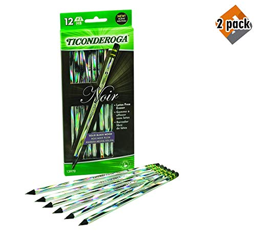 Dixon Ticonderoga Noir Black Wood-Cased #2 Pencils, Holographic Design, 12-Count Hang Tab Box (13970) (2, BLACK) (Hang Box Tab)