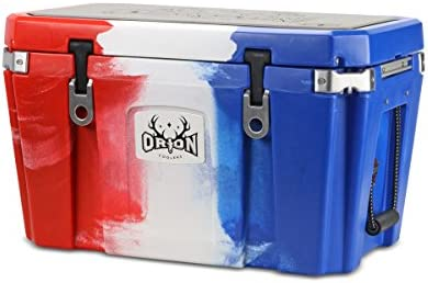Orion Heavy Duty Premium Cooler 55 Quart, Red-White-Blue , Durable Insulated Outdoor Ice Chest for Maximum Cold Retention – Portable, Bear Resistant, and Long Lasting