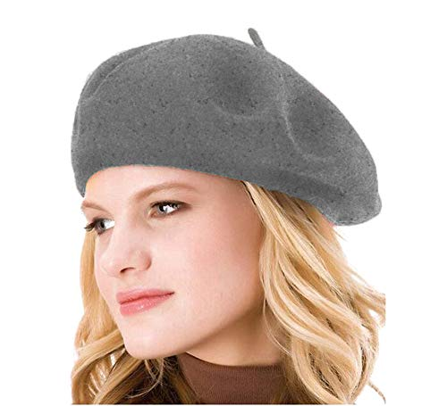 HengwoYS Womens Solid Color 100% Wool French Beanie Cap Hat (Dark Linen Gray)