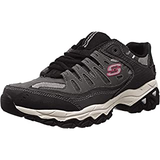 Skechers Sport Men's Afterburn Memory Foam Lace-Up Sneaker, Charcoal/Black, 10.5 4E US