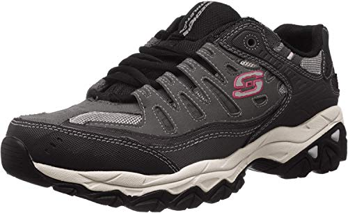 Skechers Sport Men's Afterburn Memory Foam Lace-Up Sneaker, Charcoal/black, 11 M US