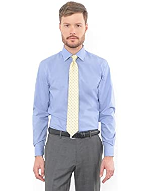 Men's Athletic Fit Blue Mini Houndstooth Wide Spread Collar Dress Shirt