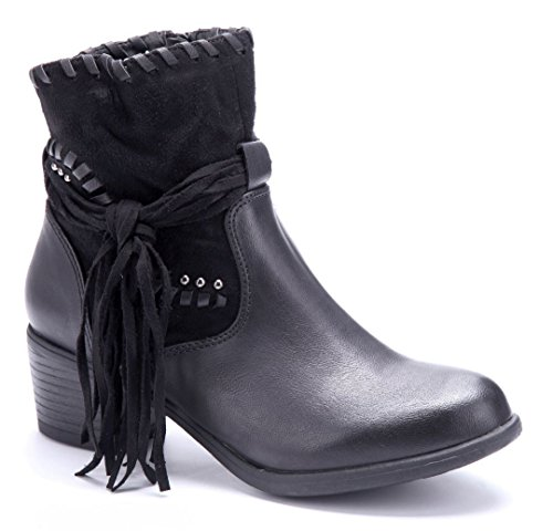 Schuhtempel24 Damen Schuhe Klassische Stiefeletten Stiefel Boots Blockabsatz Nieten 5 cm Schwarz