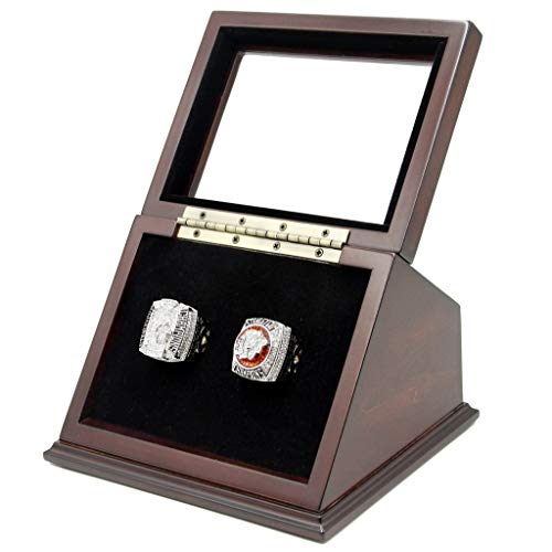 (2 Slots Championship Rings Wooden Display case Shadow Box with Slanted Glass Window for Football Rings Basketball Hockey Sports Championship Rings - Rings are Not Included)