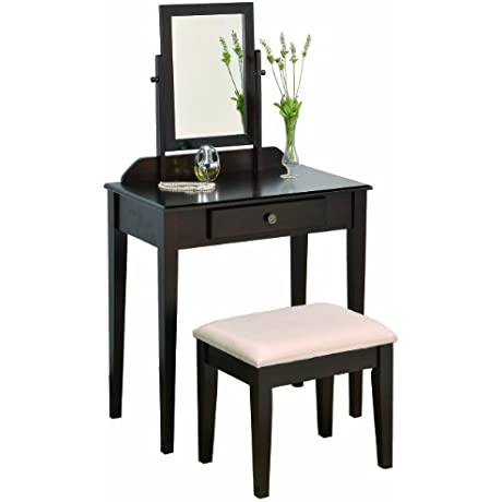Crown Mark Iris Vanity Table Stool Espresso Finish With Beige Seat