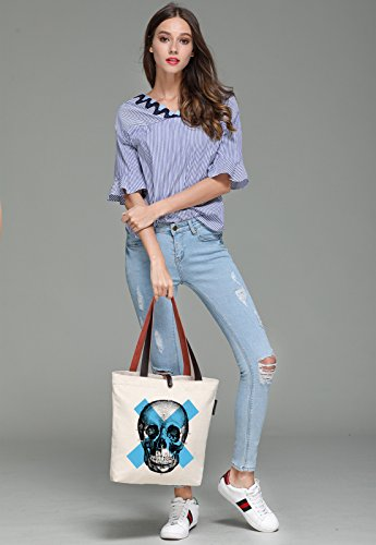 So'each Women's Cool Skull Sketch Graphic Canvas Handbag Tote Shoulder Bag