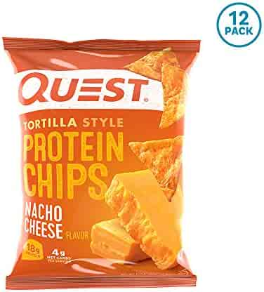 Quest Nutrition Tortilla Style Protein Chips, Nacho Cheese, Low Carb, Gluten Free, Baked, 1.1 Ounce (Pack of 12)