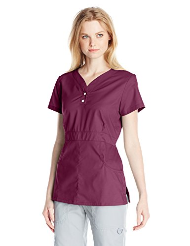 Mini Mock Wrap Scrub Top - KOI Women's Justine Button-Front Scrub Top Longer Length, Wine, Medium