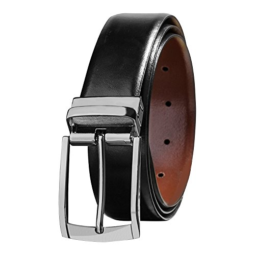 Savile Row Men's Reversible 100% Leather Classic Dress Belt (Size 32)