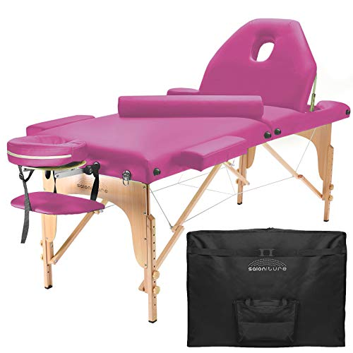 Saloniture Professional Portable Massage Table with Backrest – Hot Pink