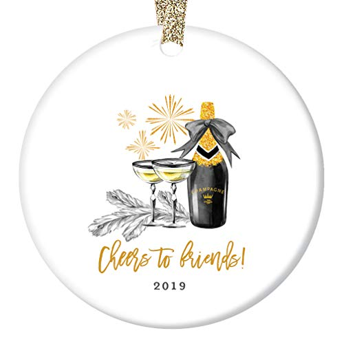 (Cheers to Friends! Christmas Ornament 2019 New Year's Special Occasion Birthday Graduation Wedding Champagne Toast Sparkling Holiday Keepsake Present 3