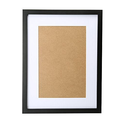 Fastnova 13x17 inch Black Wood Picture Frames Made to Display Picture 8x12 with Mat or 12x16 Without Mat, Wall Mounting Material Included
