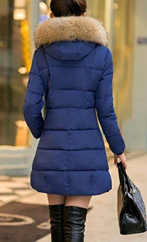 Veste Longues Uni Smithroad Manteau Bleu Damassée Femme Manches Foncé Xn5wx6