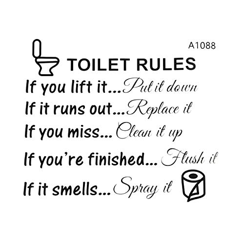 TOOGOO(R) Toilet Rules Bathroom Removable Wall Sticker Vinyl Art Decals DIY Home Decor ()