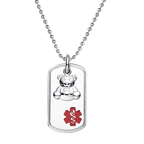 "Divoti Custom Engraved 316L Teddy Bear Charm Medical Alert Necklace -Dog Tag -24"" Stainless Ball Chain-Red"