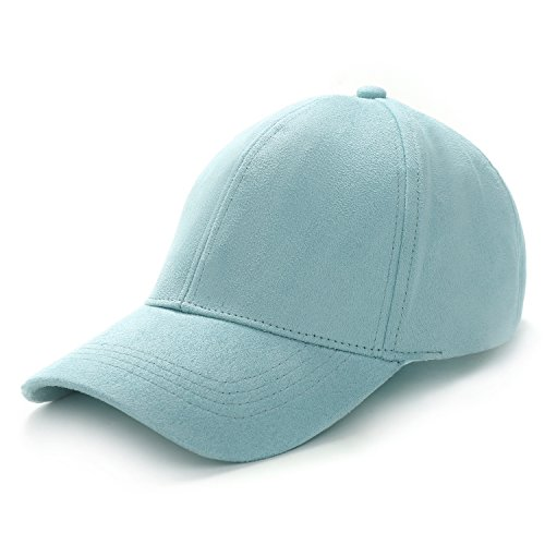 ede Leather Classic Adjustable Plain Hat Baseball Cap (Light Green) (Suede Leather Baseball)