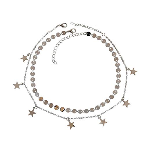 Sequined Star - Little Story European and American Stars Tassel Pendant Sequined Five-Pointed Star Necklace