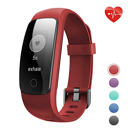Teslasz Fitness Tracker HR, ID107Plus Pedometer with Heart Rate Monitor Auto Sleep Monitor Activity Tracker for Android iOS Smart Phone (Red)
