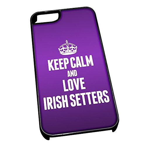 Nero cover per iPhone 5/5S 2017 viola Keep Calm and Love Irish Setters