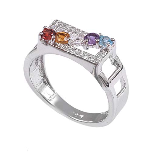 925 Sterling Silver Ring   Natural Gemstone Faceted Round 3mm Garnet, Citrine, Amethyst, Swiss Blue Topaaz Ring   Wedding Band for Women   Natural Gemstone Ring, Engagement Ring Ring Size 8.5 US